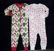 Hanna Andersson Girls Size 80 18-24 Mon Owl Santa Claus Zipper Night Pajamas LOT