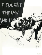 "BANKSY STREET ART CANVAS PRINT I fought the law BW 8""X 12"" stencil poster"