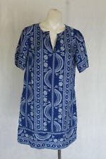 🥚 SIZE L COLLETTE BLUE PAISLEY SILK T-SHIRT TUNIC DRESS POST 5+ FREE