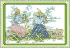 Entièrement neuf sous emballage Two Ladies painting from Life Cross stitch kit 14 CT SIZE 49 x 35 cm