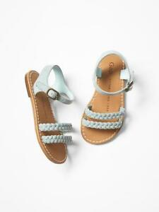 NWT $25 Baby GAP Girls Blue Faux Suede Braided Sandals Shoes Sz 7 8 9 Toddler