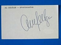 AL MELTZER SIGNED 3x5 INDEX CARD ~ SPORTSCASTER AUTOGRAPH ~ JSA BASIC STICKER