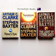 x3 ARTHUR C CLARKE & STEPHEN BAXTER Book Lot ~ Time's Eye Sunstorm Light. Sci Fi
