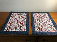 Handmade Quilted Placemats Set of Two - Patriotic Blue