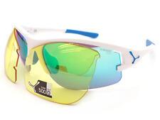 CEBE - ACROSS Two Lens Sports Sunglasses White / Grey Blue Flash Mirror + Yellow