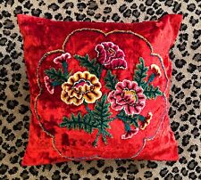 "BOHO Chic Pillow Cushion Cover~Chenille Embroidery on Red Crushed Velvet 18""x17"""