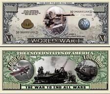 World War I Million Dollar Bill Collectible Fake Play Funny Money Novelty Note