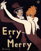 POSTER ERRY MERRY GERMAN COUPLE DANCERS BALLROOM DANCING VINTAGE REPRO FREE S/H