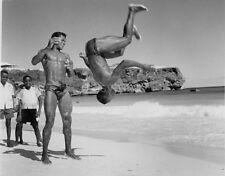 Barbados Beach Boys Acrobatic Flip 1955 7x5 Inch Reprint Photograph