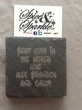 Personalised Laser Engraved Slate Coasters Birthday Any Name Gift Uk Seller