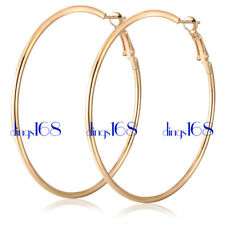 Classic 18K Gold Filled LightWeight 30MM Medium Size Thin Tube Hoop Earrings H3R