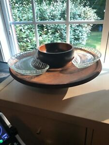 Wood Serving Set with bowls and glass trays