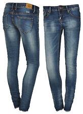 Hüftjeans Röhrenjeans Damenjeans Jeans Damenhose Röhre Skinny Stretch Slim blau