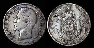 5 Francs NAPOLEON III Tête nue 1855BB (Strasbourg) - Argent 24.60gr