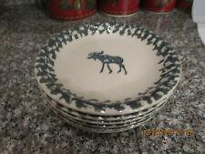 "7 Tienshan Folk Craft ~ Salad Plates 7 1/2"" ~ Folk Art ~ Moose Country"