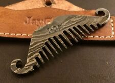 Handmade Pattern Welded Damascus Steel Beard Comb-Pendant-Keyring-Gift Idea-CD2