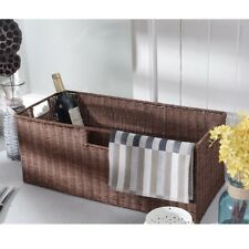 3PCS wicker rattan storage baskets with handles 2 Sizes natural Steel 5 lbs