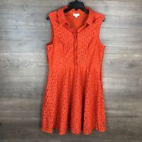 New York & Company Women's Size 10 Fit & Flare Dress Sleeveless Orange Lace