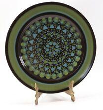 "Vintage Green Brown Blue MIKASA Majorca Intaglio 7501 Serving Chop 12"" Plate"