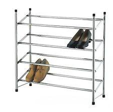 Chrome 4 Tier Shoe Rack Stackable & Extendable Expandable Organiser Shoes Tidy