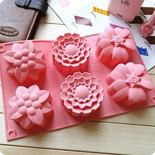 Silicone 6 cell Mixed Flowers Bakeware Mould Bath Bomb Soap Mold Candle UK