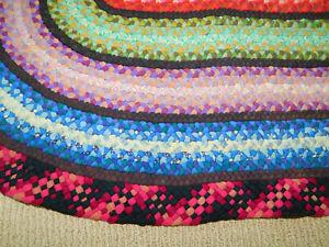 """Vintage Handmade BRAIDED RUG Floor Door Mat Oval 41"""" x 27"""" Wool Pink Blue Green"""