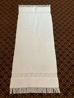 Vintage Italian Table Linen Cloth Runner Cut Work Drawn Work Fringe Edge Buondi