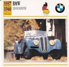 BMW 328 ROADSTER - ALLEMAGNE 1937/40 - CARTE FICHE COLLECTOR VOITURE OLDTIMER