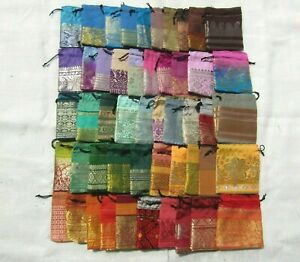 50 x Recycled Pouches Party, Favor, Wedding Bags Sari Fabric Pouches 3 Inches