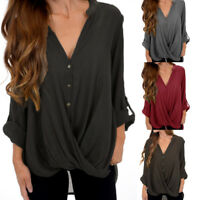 Plus Size Womens Loose Long Sleeve Irregular Ladies Casual Tops T-Shirt Blouse