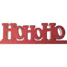 Red Glittered Ho Ho Ho Father Christmas Xmas Decoration Freestanding 28cms Width