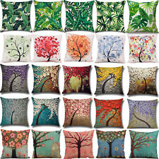 Tropical Flower Tree Throw Pillow Case Cushion Cover Linen Cotton Bed Home Decor