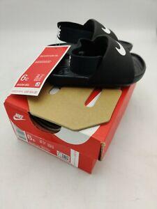 New NIKE Kawa Slide (TD) White/Black Toddler Infant Sandals BV1094-001 6C