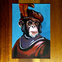 Original painting ACEO hand painted OOAK signed classic art サル monkey