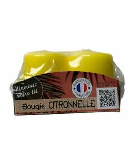 Bougie Small Pillar Citronella Candles Made In France (Pack of 4)