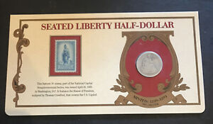 1877 SEATED LIBERTY HALF-DOLLAR 90% SILVER &3 CENT SESQUICENTENNIAL SERIES STAMP
