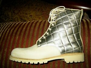 SUEDE MID CALF COMBAT BOOTS IN NEUTRAL QUILTED UPPER IN GOLDEN SHIMMER 37 ITALY