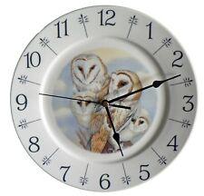 "Owl barn owl design 10.5"" large ceramic  wall clock - boxed"