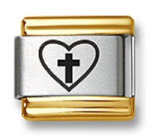 Italian Charm Bracelet Link Laser Heart Cross 9mm Gold Trim Stainless Steel