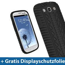 Schwarz Silikon Tasche für Samsung Galaxy S3 III i9300 Reifen Skin Hülle