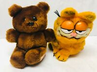 Garfield and Pooky Bear Plush Stuffed Animals Vintage Dakin Toys Collectible