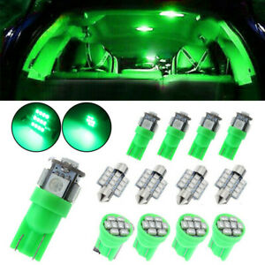 13Pcs Green Car Interior LED Lights Package Kit For T10 Dome License Plate Lamp