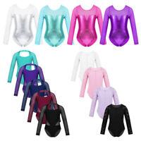 Girls Long Sleeve Leotards Kid Ballet Gymnastics Mesh Bodysuit Dancewear Costume