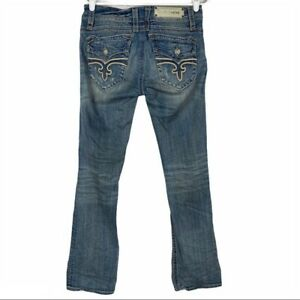 Rock Revival Christina Bootcut Factory Distressed Jeans Size 31