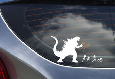 Godzilla ate your family sticker decal for cars. White