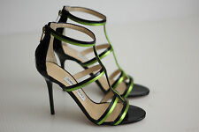 NEW Jimmy Choo Thistle T-Strap Strappy Open Toe Pump Black Green Patent 6US (Y1)