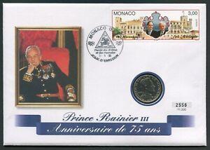Monaco 1 franc 1978 Prince Rainier III 75th Anniv KM#140 aUNC in FDC Cover
