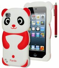 For iPod Touch 5 3D Cute and Soft Red & White Panda Silicone Gel Case+Stylus