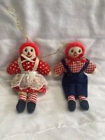 Set of 2 Vintage Fabric Raggedy Ann and Andy Ornaments