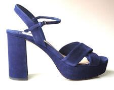 new $690 PRADA MIU MIU blue suede open-toe ankle strap shoes 39.5 9.5